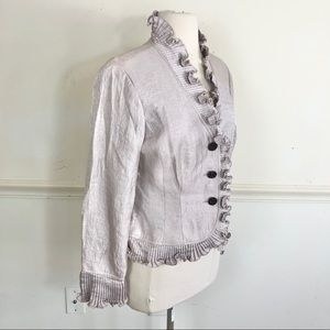 Adrianna Papell 10 Petite lilac Ruffed Blazer